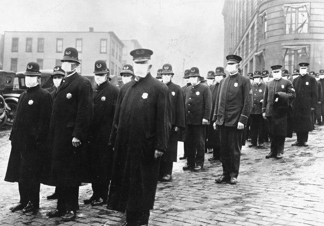 Spanish Flu Policemen Seattle 1918 photo