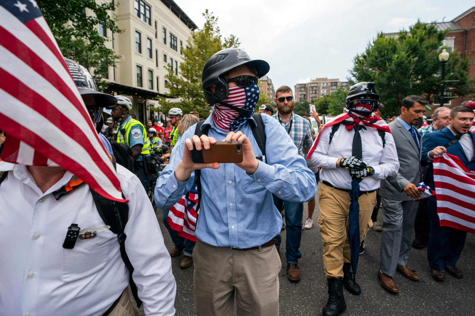 White supremacists and members of the alt-right march to the White House on the anniversary of last year's 'Unite the Right' rally in Washington, DC, USA, 12 August 2018. On 12 August 2017, a bloody clash between white supremacists and counterprotestors in Charlottesville, Virginia left three people dead and dozens injured.White supremacists march on anniversary of Unite the Right rally in DC, Washington, USA - 12 Aug 2018