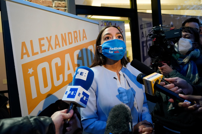 Alexandria Ocasio-Cortez, D-N.Y., speaks to the media after addressing members of her staff and volunteers who helped with her campaign [Kathy Willens/AP Photo]
