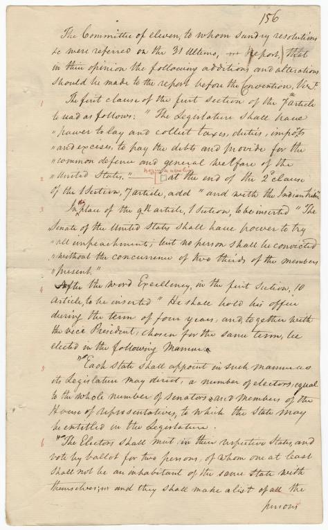 The manuscript records first discussing the proposed Electoral College
